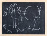 money sign on blackboard