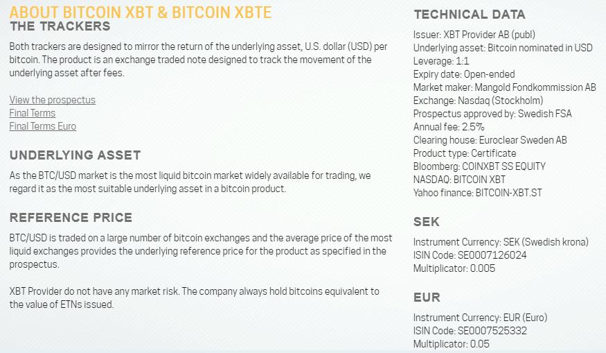 Bitcoin Tracker EUR XBT Provider
