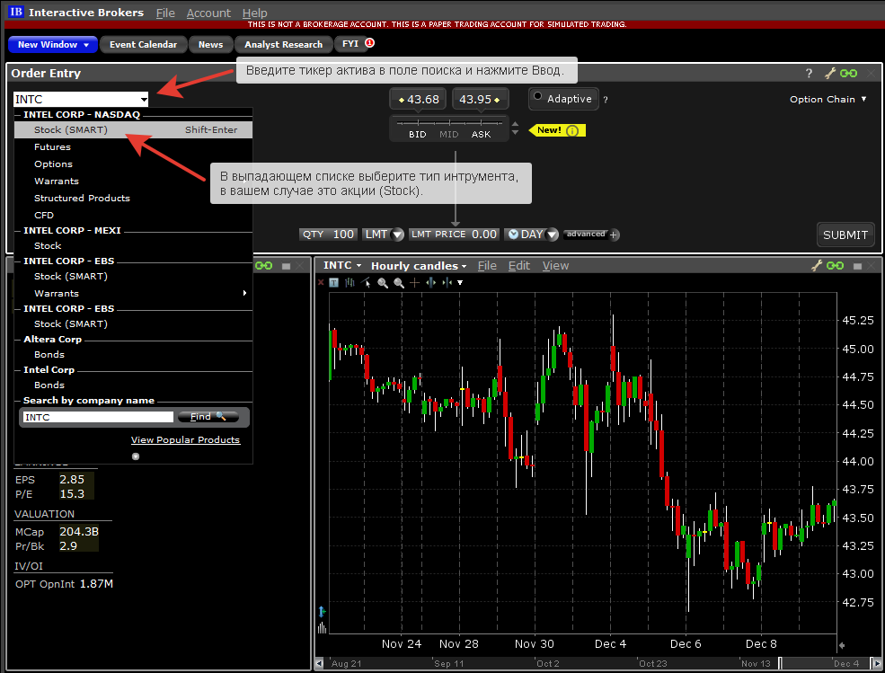 Торговая платформа Interactive Brokers