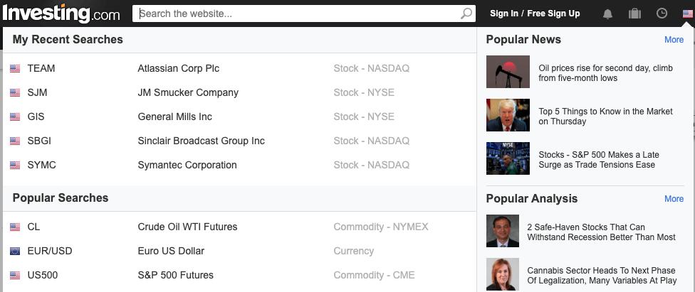 stocks search
